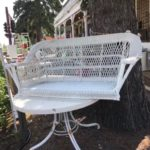 Wicker porch swing previously sold at Picket Fence Gals in Lindstrom Minnesota