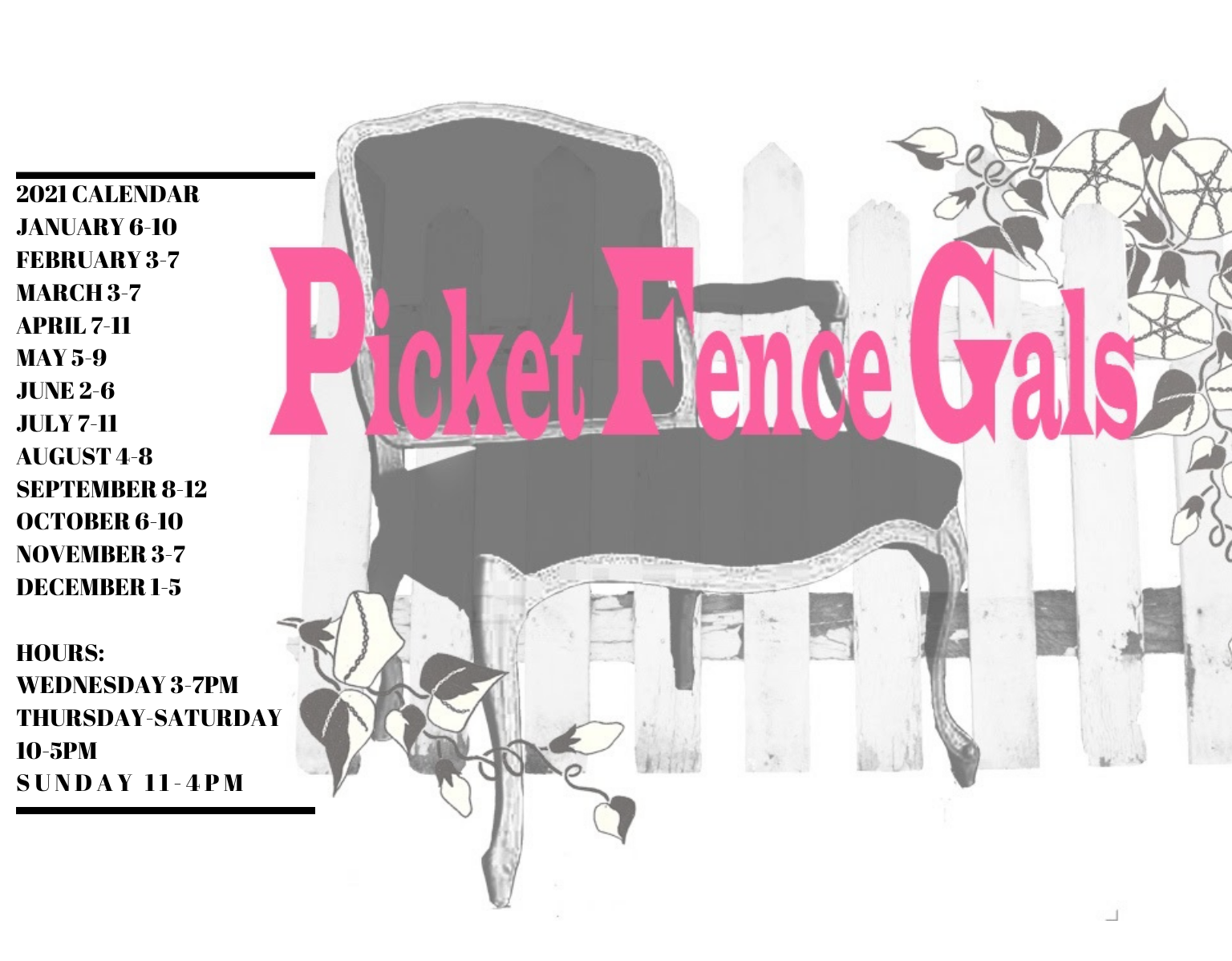 Picket Fence Gals 2021 Sale Dates